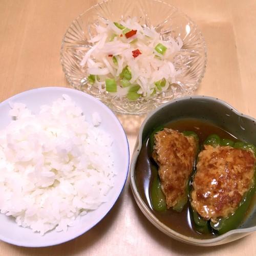ピーマンの肉詰めの夕ごはん☆