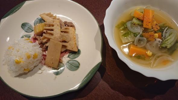 とうもろこしの炊き込みご飯×スープ♡
