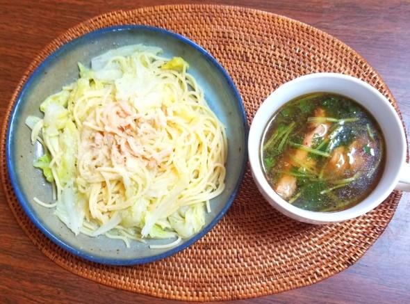 鶏ササミの柚子胡椒パスタ スープ