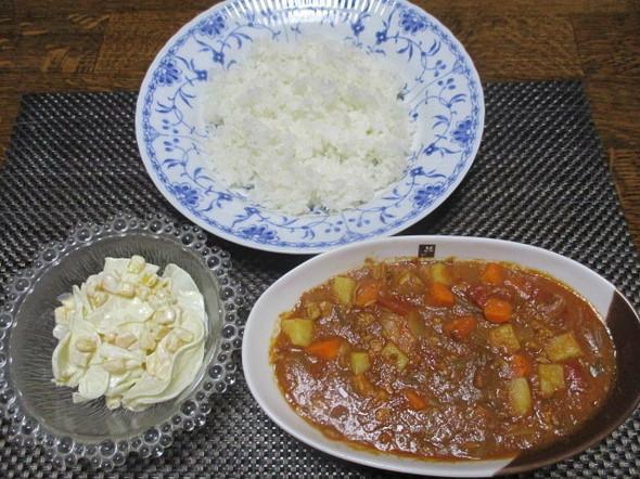 2019/6/14トマト缶カレーとサラダ