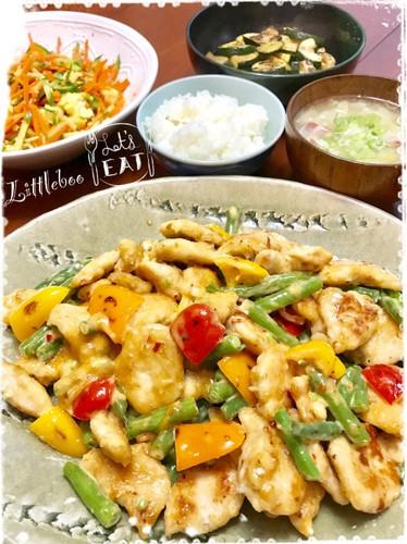 鶏胸肉のスイートチリマヨ炒めの夕ご飯✿