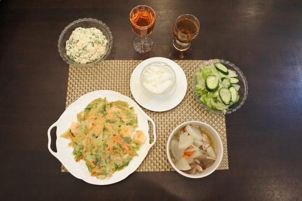 海鮮チヂミで 和洋折衷な夕食 ♪