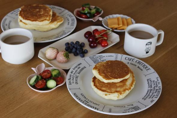 ホットケーキで休日朝食