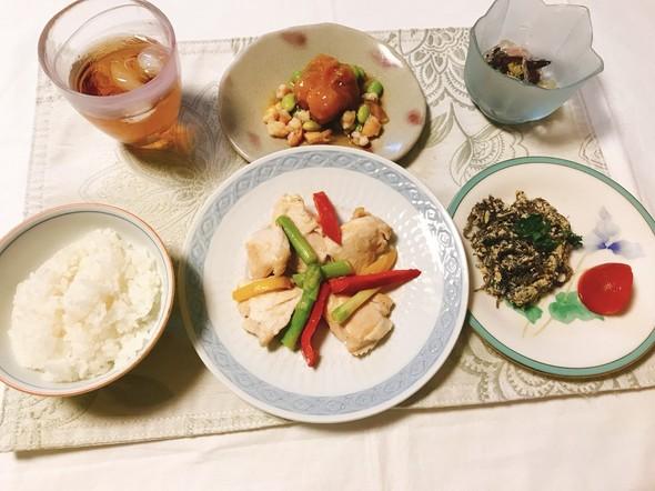 アスパラと鶏胸肉の塩炒め✨