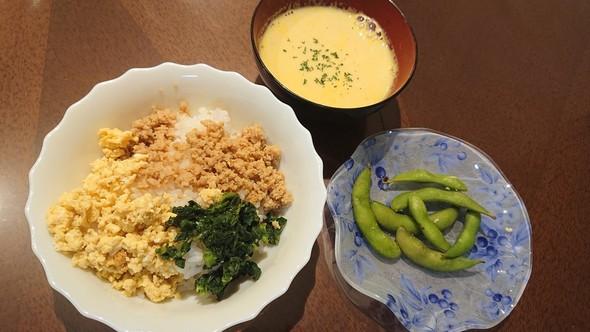 甘辛鶏そぼろ丼×キャロットスープ♡