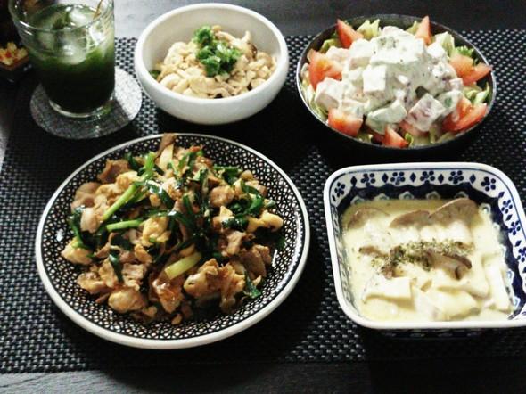 カリカリ豚とニラ玉の生姜醤油炒めで晩酌