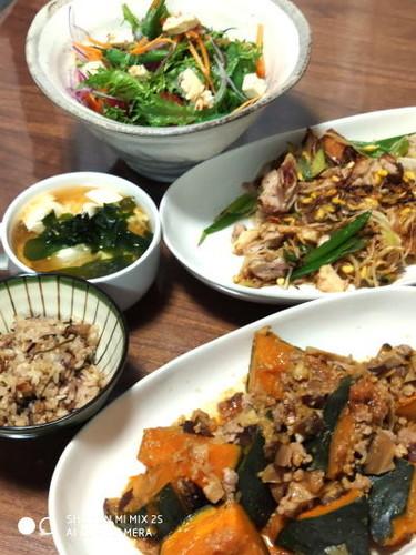 南瓜のそぼろ煮&野菜炒め