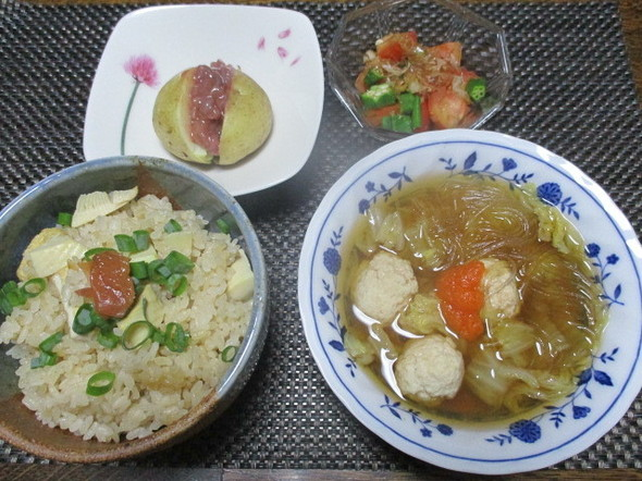 2019/10/7白菜と鶏団子のポン酢煮