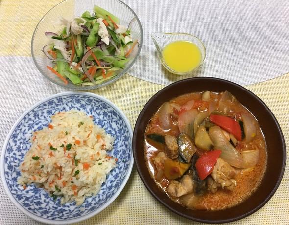 塩麹鶏と彩り野菜のトマト煮11/9お夕飯