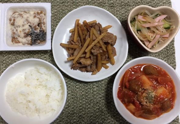 シャキじゃが芋と豚肉の炒め☆弐百参拾漆夜