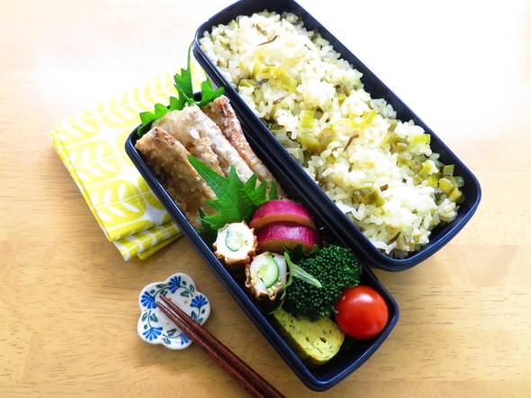 ぶりの竜田揚げ&高菜じゃこご飯弁当♪