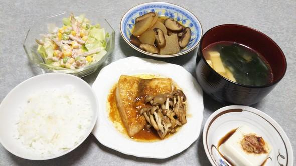 カジキまぐろのバター醤油ソテーの晩ご飯