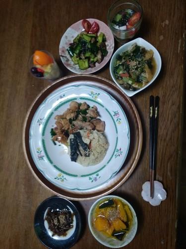 照り焼き鶏肉と筍ご飯✳の和定食✨☺⛄☕