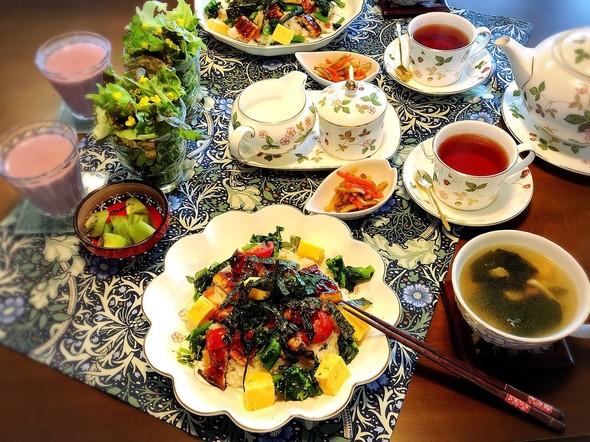 週末ブランチ*鰻と菜の花のちらし寿司