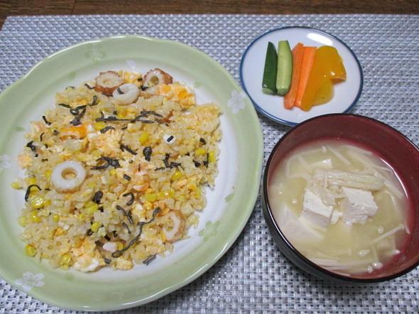 2020/4/5竹輪とコーンの塩昆布炒飯