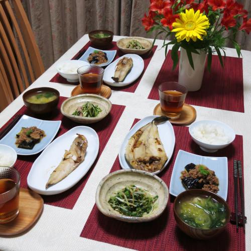 ホッケとナムルと肉味噌ナスの夕ご飯