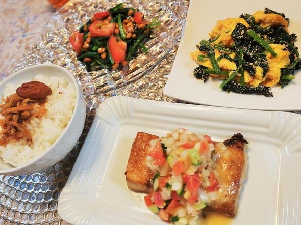 メカジキのムニエルメインの夏野菜夕食