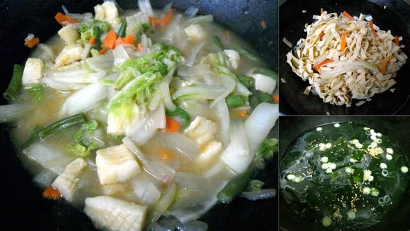 夕食 八宝菜風+干豆腐サラダ+若芽スープ