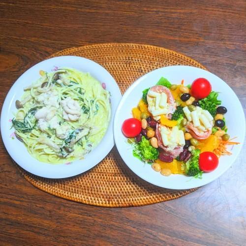 白子と水菜のゆず豆乳クリームパスタ