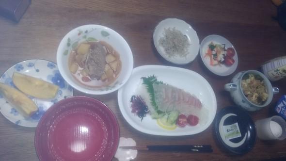 宇和島鯛めし風と筍のお吸い物と肉じゃが