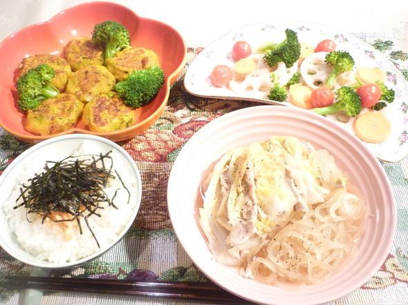 白菜と豚肉の重ね煮メインに野菜たっぷり☆