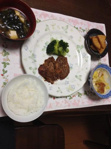 味噌豚の夕食