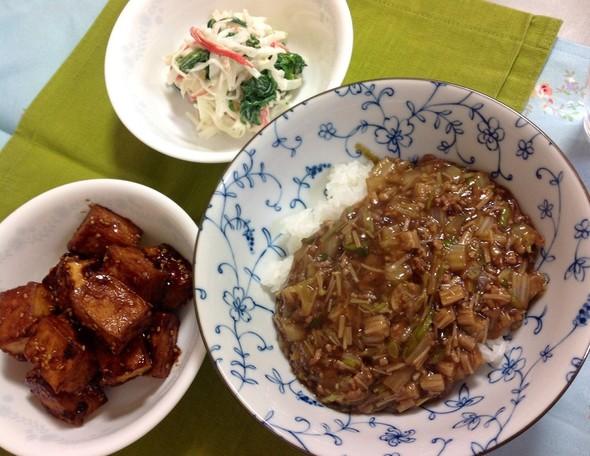 白菜と豚ひきあんかけ丼の夜ご飯