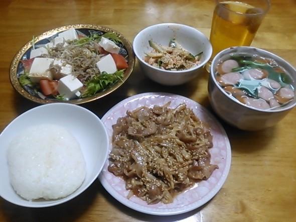 豚肉えのき炒め中心の夕食_140225