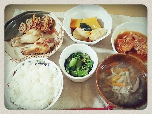 夕食*作り置き常備菜や残り物