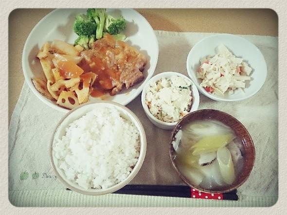 夕食*野菜たっぷりポークチャップ