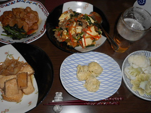 豆腐製品中心の晩酌