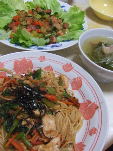 野菜たっぷりのパスタディナー♪