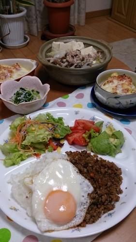 夕食  プルコギ風丼