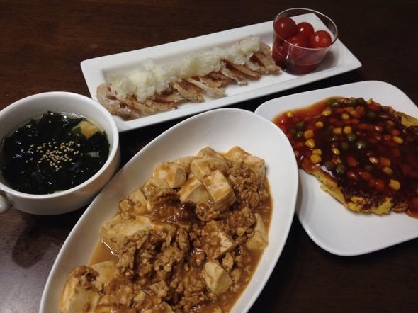 鶏挽肉でヘルシーに☆麻婆豆腐の夕飯