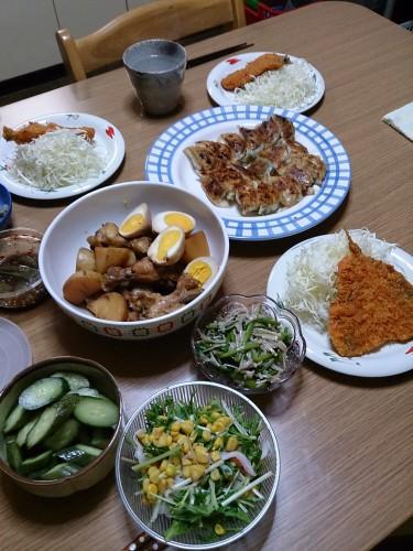 鶏肉とじゃがいもの煮物&餃子f(^^;
