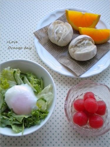 温泉卵のサラダ×プチトマトの白ワイン漬け