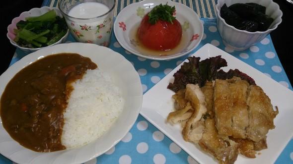 夕食  牛すじカレー&甘酢チキン