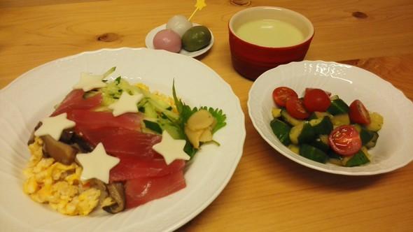 七夕寿司の晩御飯