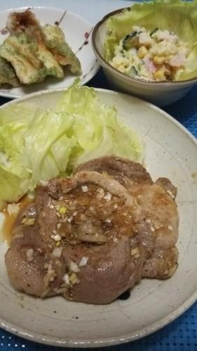 ☆塩ダレロース肉の夕飯☆