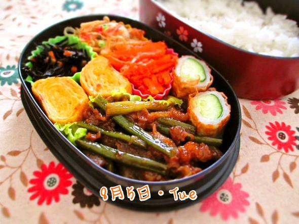 お弁当/牛肉とにんにくの芽の炒めもの
