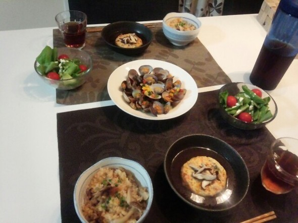 豆腐ハンバーグ&酒蒸し 夕食**