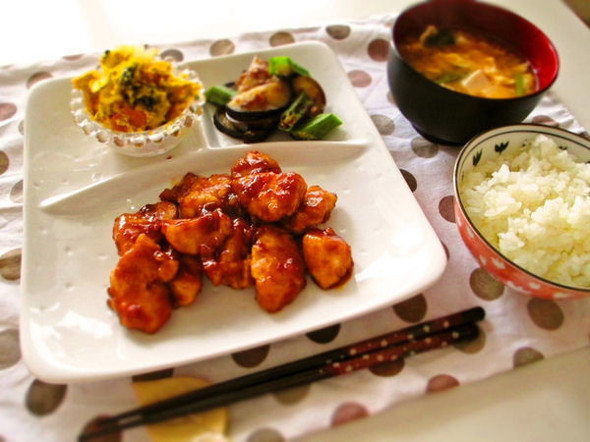 遅い夕食*鶏肉の梅肉焼き
