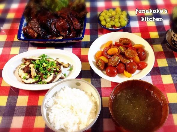 ・牛肉味噌漬けと野菜の夜ごはん・