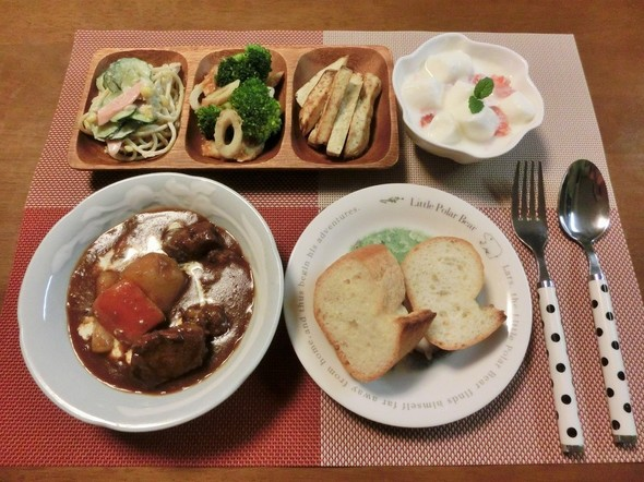 ビーフシチューの晩ご飯~♪