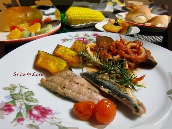 秋刀魚もイカも美味しいワ〜♬な晩ご飯