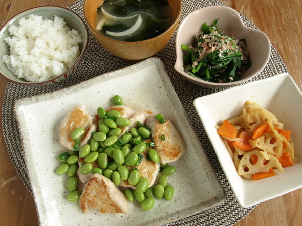 鶏肉のヒスイ炒めの夕食献立