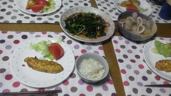 ササミのピカタで夕御飯