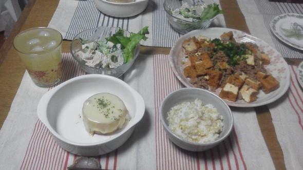 厚揚げと豚ひき肉で夕御飯♪