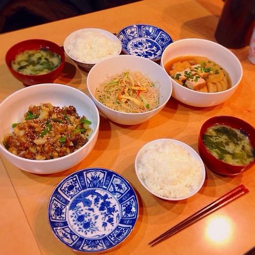 甘辛炒め、煮物、春雨サラダ