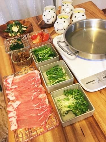 モク2豚ロースと緑野菜3種でしゃぶ2夕飯